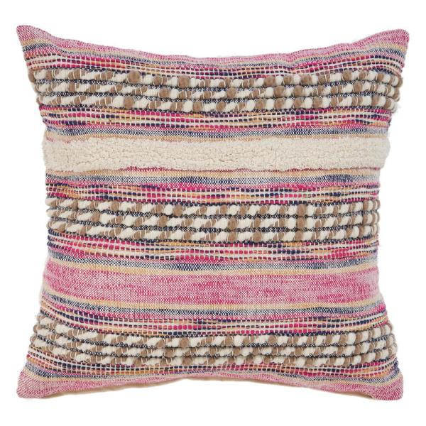 LR Resources - Eclectic Pink Striped Hypoallergenic Polyester 18 in. x 18 in. Throw Pillow