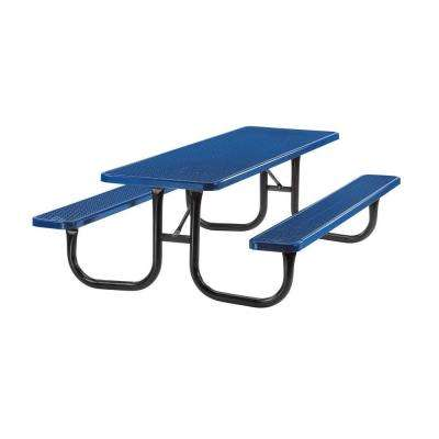 Portable 8 ft. Blue Diamond Commercial Rectangular Table
