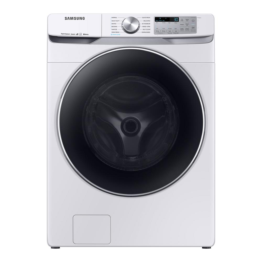 Samsung 4.5 cu. ft. High-Efficiency White Front Load Washing Machine with Steam and Super Speed