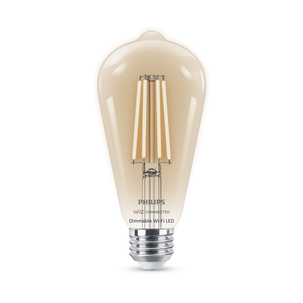 Philips Soft White ST19 LED 40W Equivalent Dimmable Smart Wi-Fi Wiz Connected Wireless Light Bulb