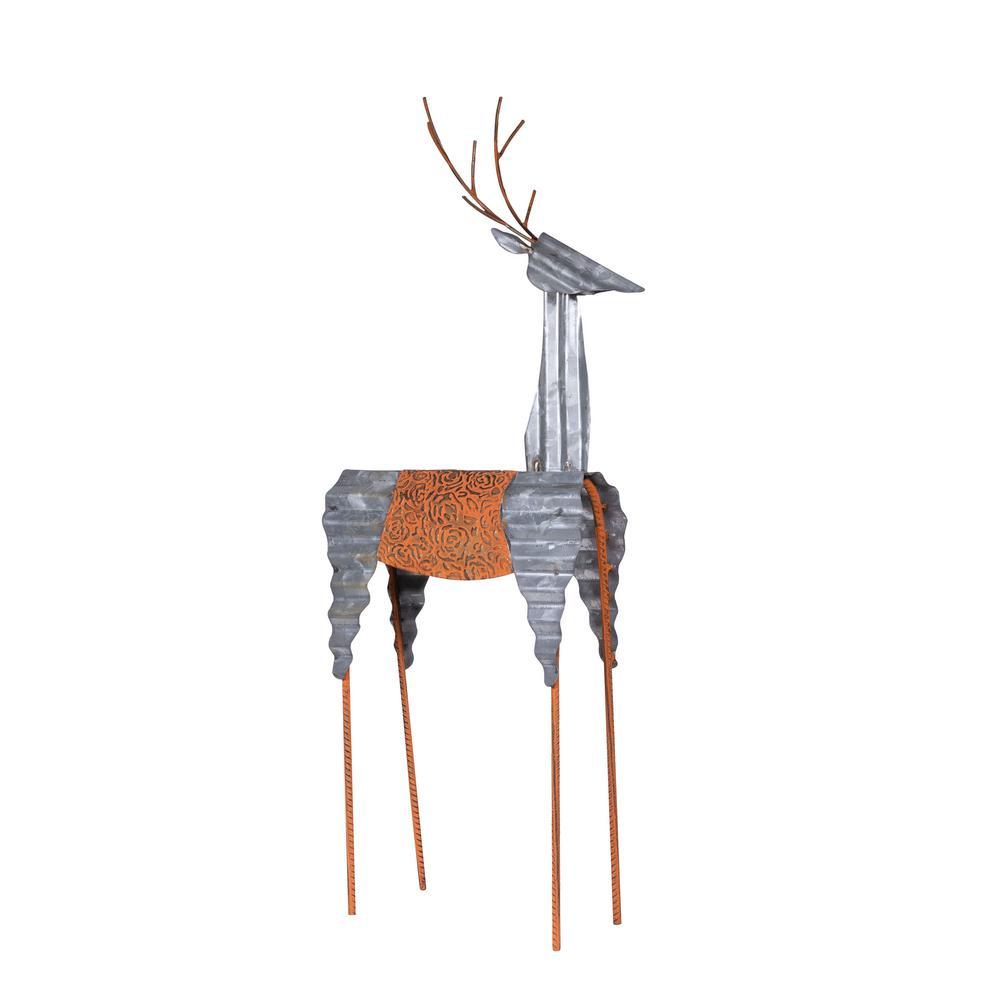 Alpine Corporation Sheet Metal Reindeer Decor, Outdoor Festive Holiday Decoration for Garden, Lawn, Yard