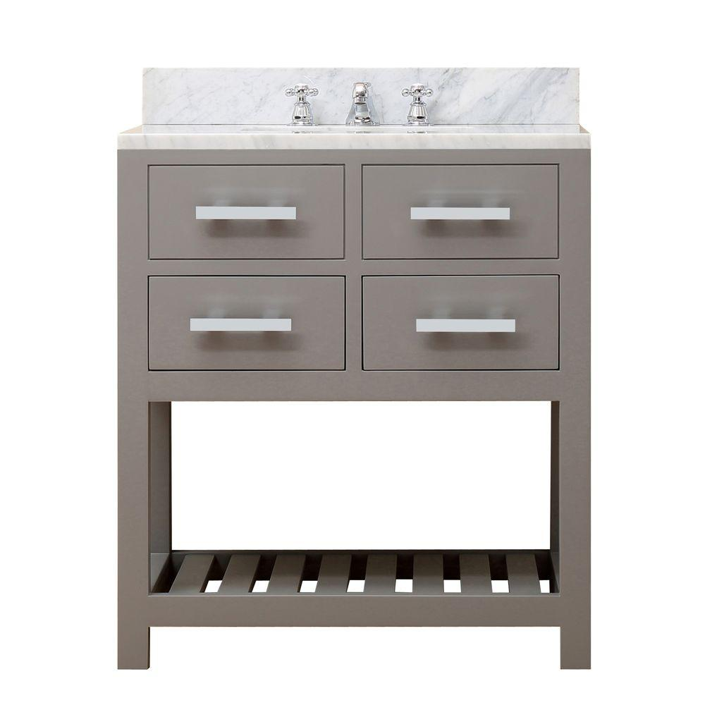 Water Creation 30 in. W x 21.5 in. D Vanity in Cashmere Grey with Marble Vanity Top in Carrara White and Chrome Faucet