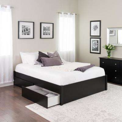 Select Black Queen 4-Post Platform Bed with 2-Drawers