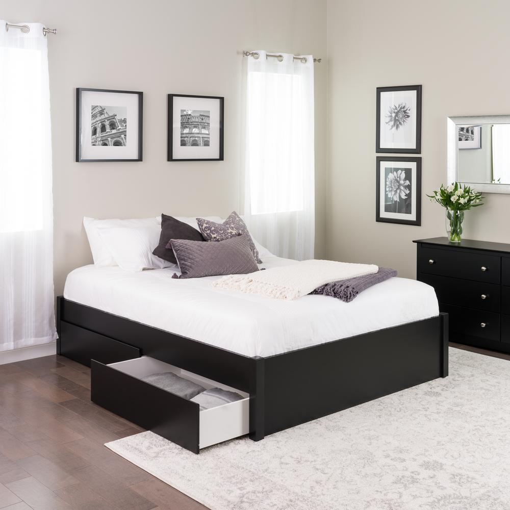 Prepac Select Black Queen 4 Post Platform Bed With 2 Drawers Bbsq