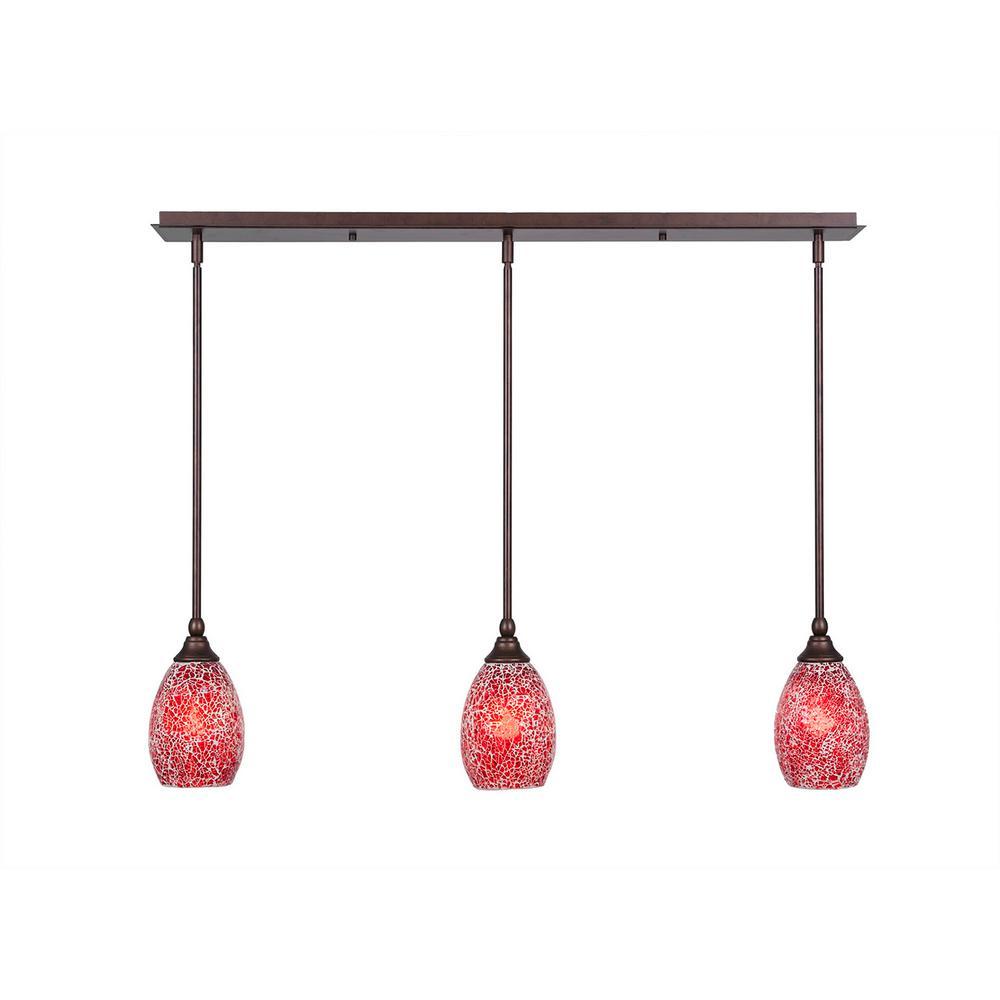 Cambridge 3-Light Bronze Island Pendant with Red Tiffany-Style Glass