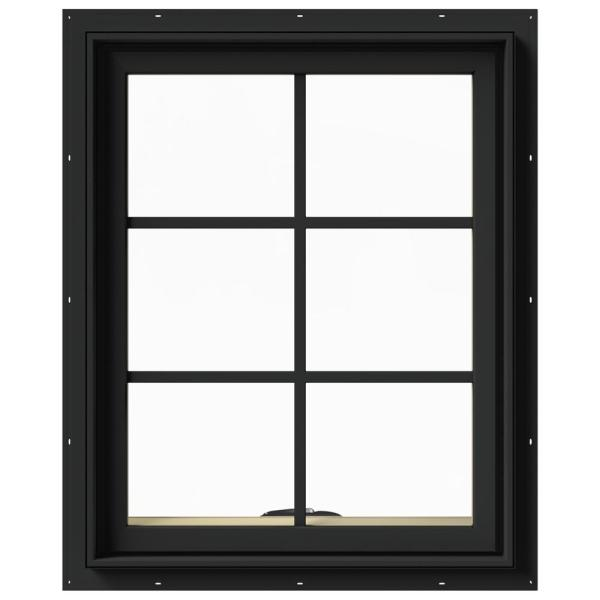 24 in. x 30 in. W-2500 Series Bronze Painted Clad Wood Awning Window w/ Natural Interior and Screen