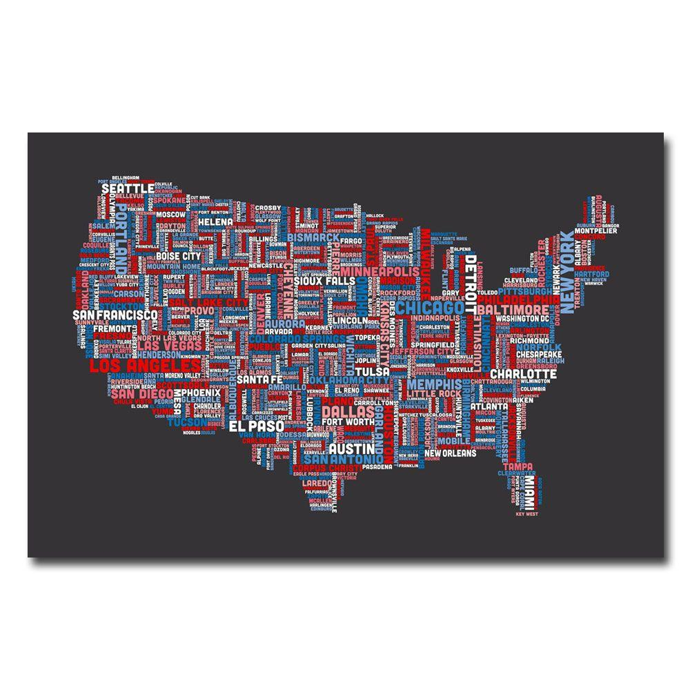trademark fine art 16 in x 24 in us cities text map canvas art