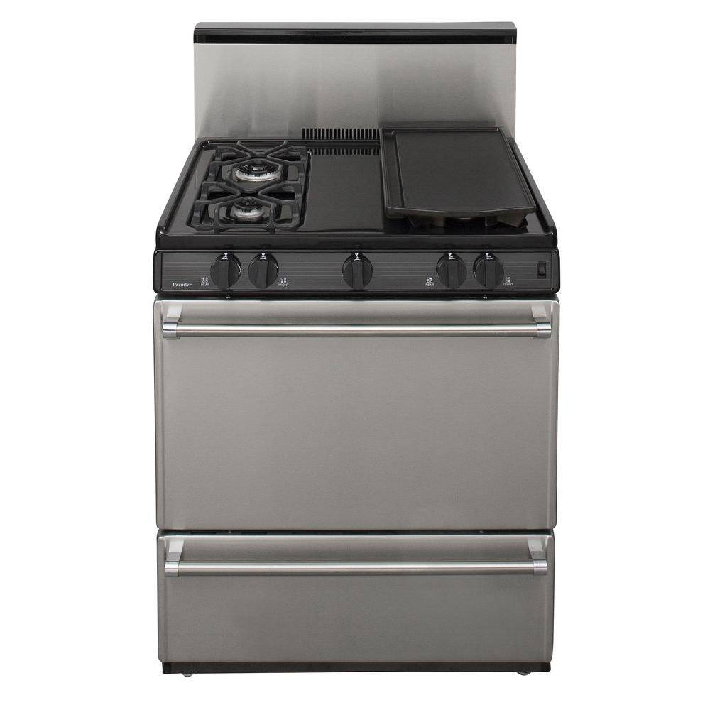 Premier 30 in. 3.91 cu. ft. Freestanding Sealed Burner Gas Range in Stainless Steel