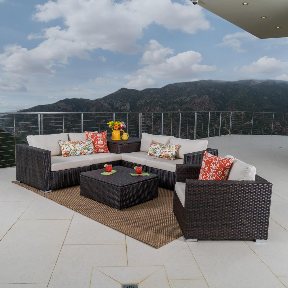 Noble House 7-Piece Wicker Patio Seating Set with Beige Cushions