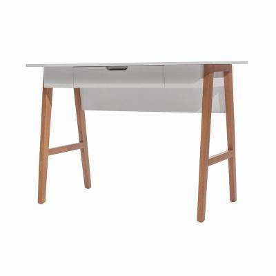 Telos White and Sand Computer Desk with Drawer