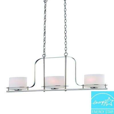 3-Light Polished Nickel Island Pendant with Oval Frosted Glass Shade