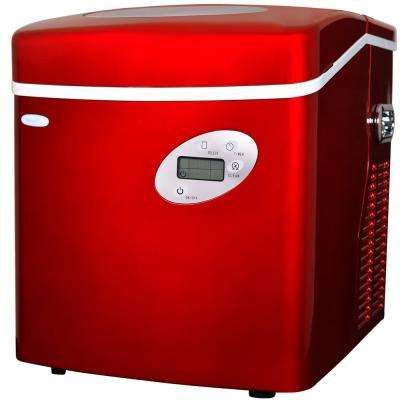 50 lb. Freestanding Ice Maker in Red