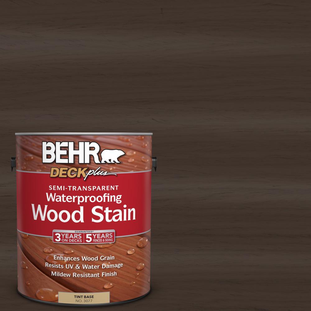 BEHR DECKplus 1 gal. #ST-105 Padre Brown Semi-Transparent Waterproofing Wood Stain
