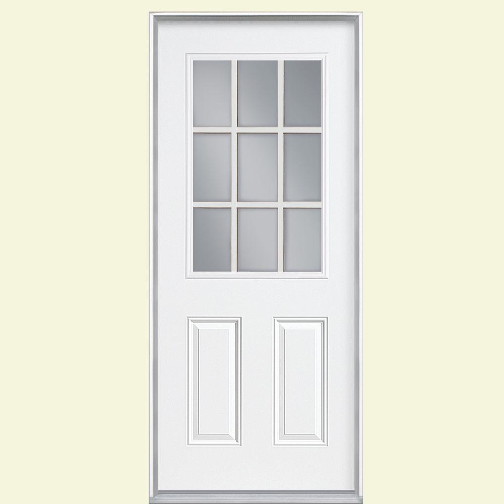 9 lite right hand inswing primed steel prehung front door no brickmold 46224 the home depot - Exterior Steel Doors