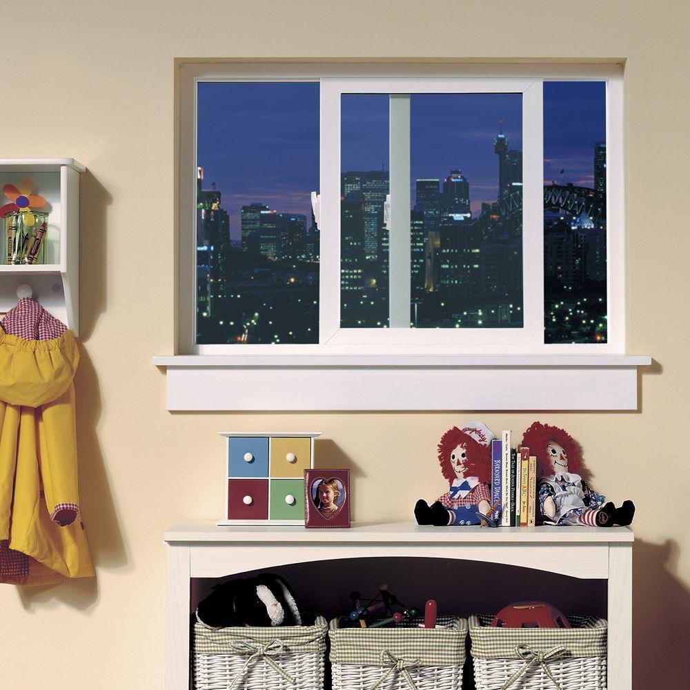35.5 in. x 35.5 in. V-4500 Series White Vinyl Left-Handed Sliding Window with Fiberglass Mesh Screen