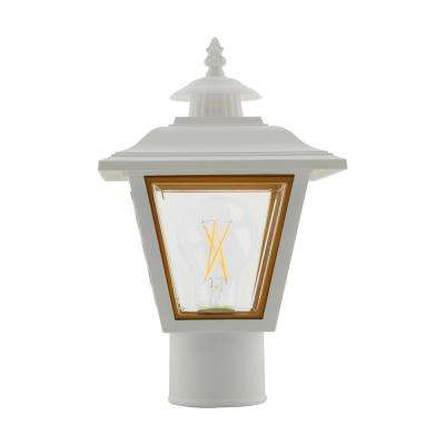 William 1-Light Outdoor White Post Lantern with Brass Trimmed Acrylic Panels