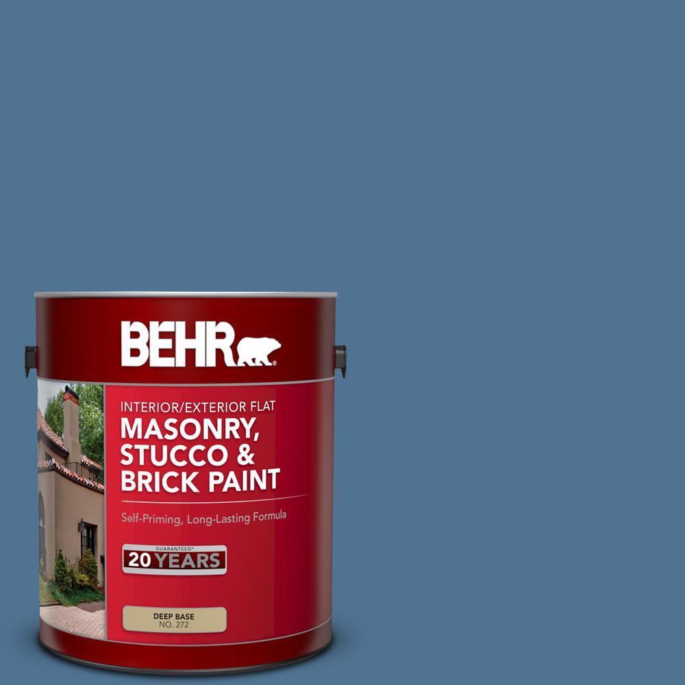 1 gal. #PPU14-18 Laguna Blue Flat Interior/Exterior Masonry, Stucco and Brick Paint