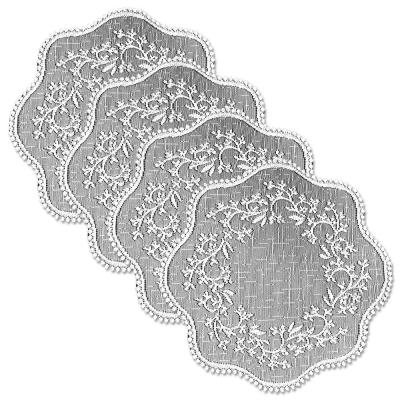 Sheer Divine 12 in. White Round Doily (Set of 4)