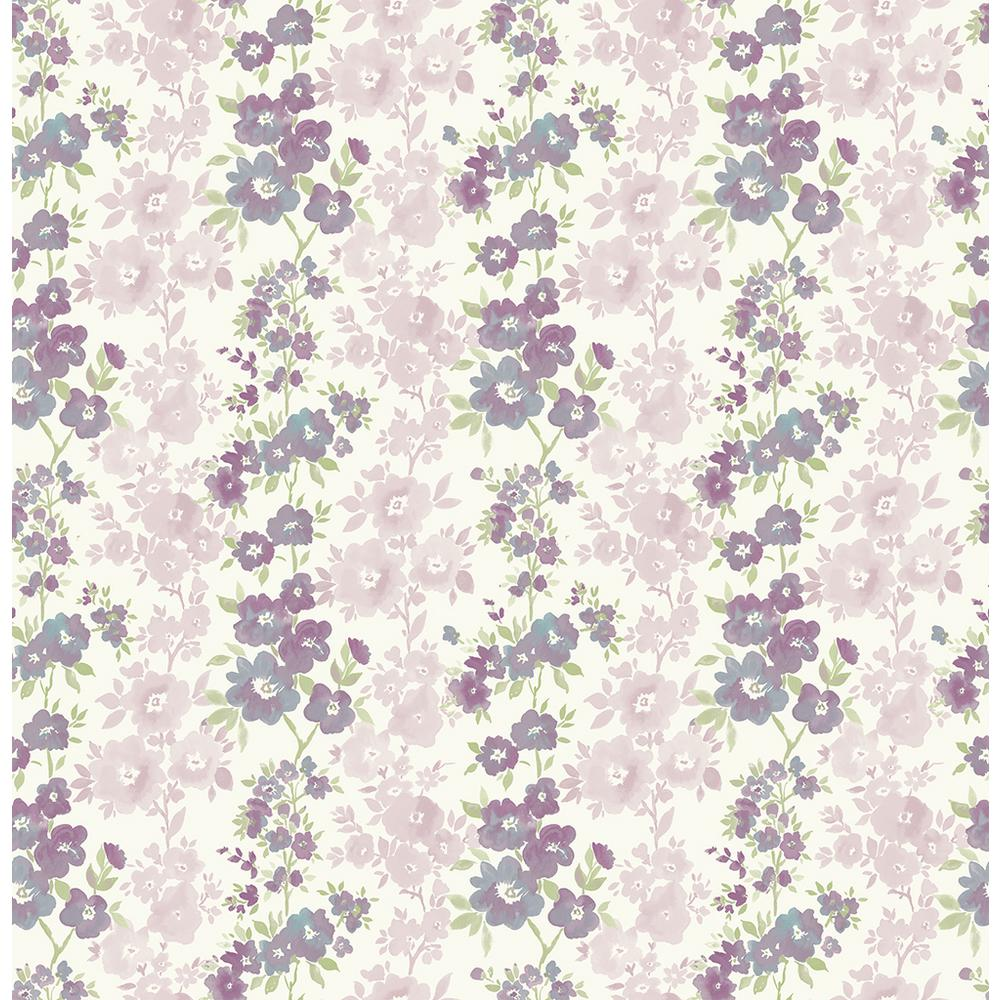 A Street Charlise Plum Floral Stripe Wallpaper Sample 2657