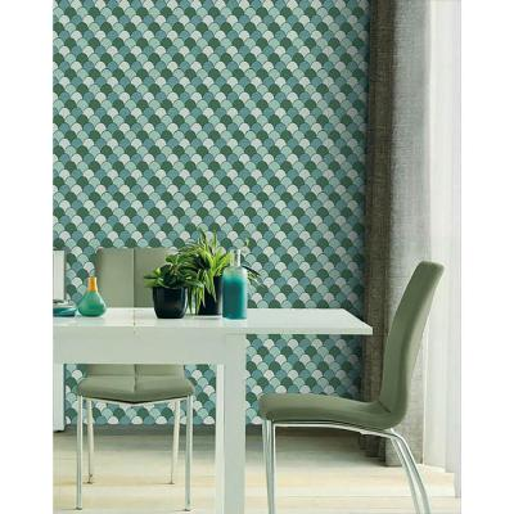 Edwards Green Geometric Wallpaper Sample