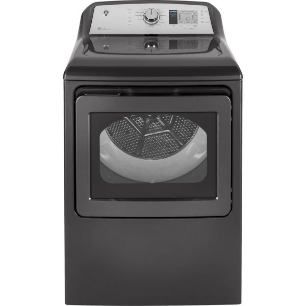GE 7.4 cu. ft. 120-Volt Diamond Gray Gas Vented Dryer, ENERGY STAR
