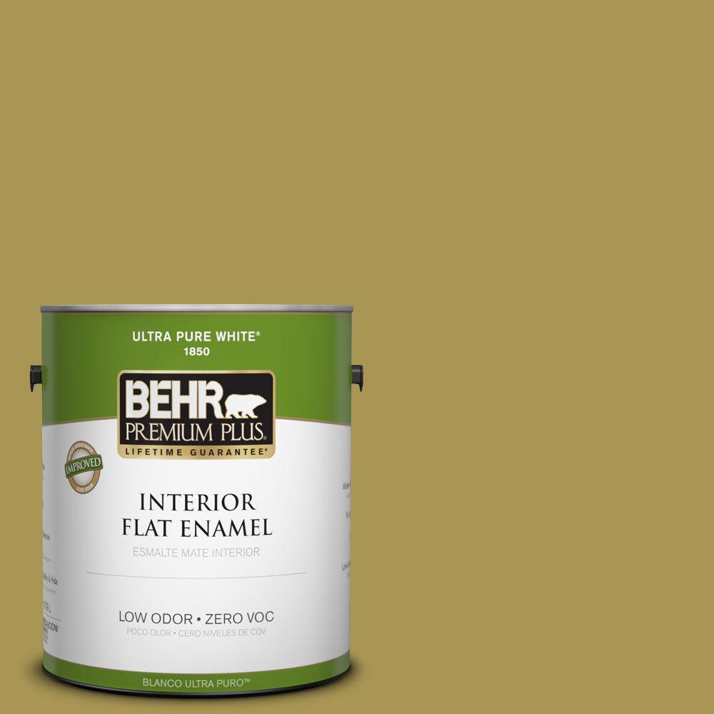 BEHR Premium Plus 1-gal. #390D-6 Spring Moss Zero VOC Flat Enamel Interior Paint-DISCONTINUED