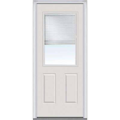 36 in. x 80 in. Severe Weather Internal Blinds Right-Hand 1/2-Lite Clear Primed Fiberglass Smooth Prehung Front Door
