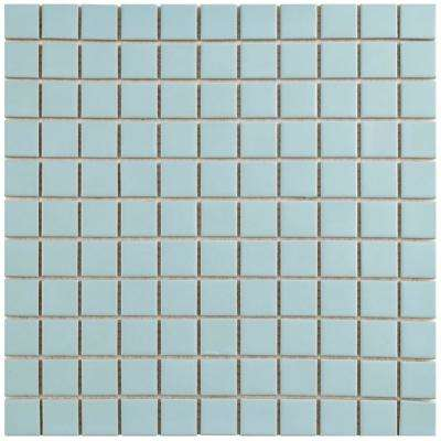 Metro Square Matte Light Blue 11-3/4 in. x 11-3/4 in. x 5 mm Porcelain Mosaic Tile (9.8 sq. ft. / case)
