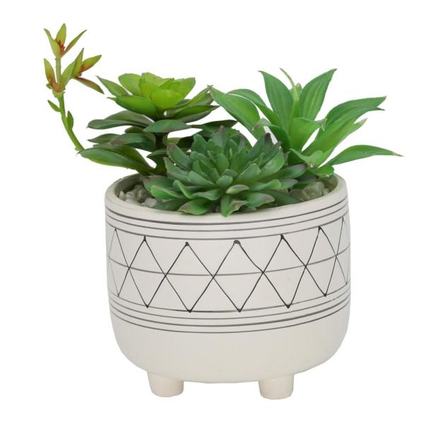 6 in. White Footed Black GEO Ceramic with Faux Succulents Mix
