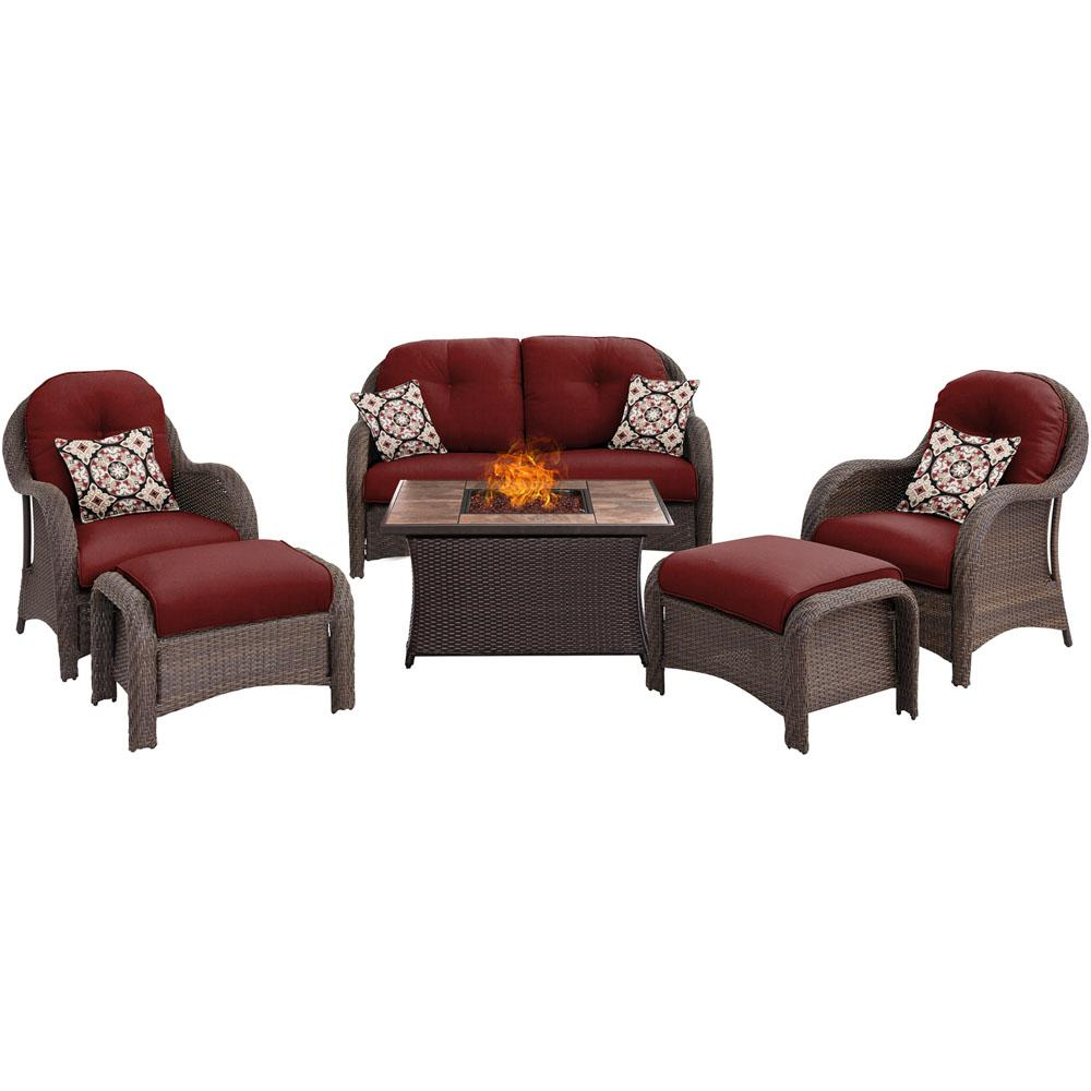 Newport 6-Piece Woven Patio Seating Set with Tile-Top Fire Pit with