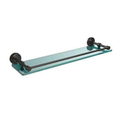Dottingham 22 in. L  x 3 in. H  x 5 in. W Clear Glass Bathroom Shelf with Gallery Rail in Oil Rubbed Bronze