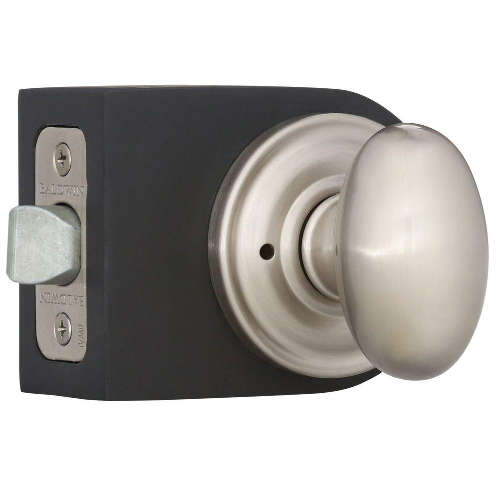 Reserve Ellipse Satin Nickel Bed/Bath Knob with Traditional Round Rose