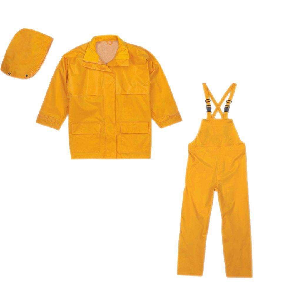 Medium Yellow Rip Stop Nylon Rain Suit (3-Piece)