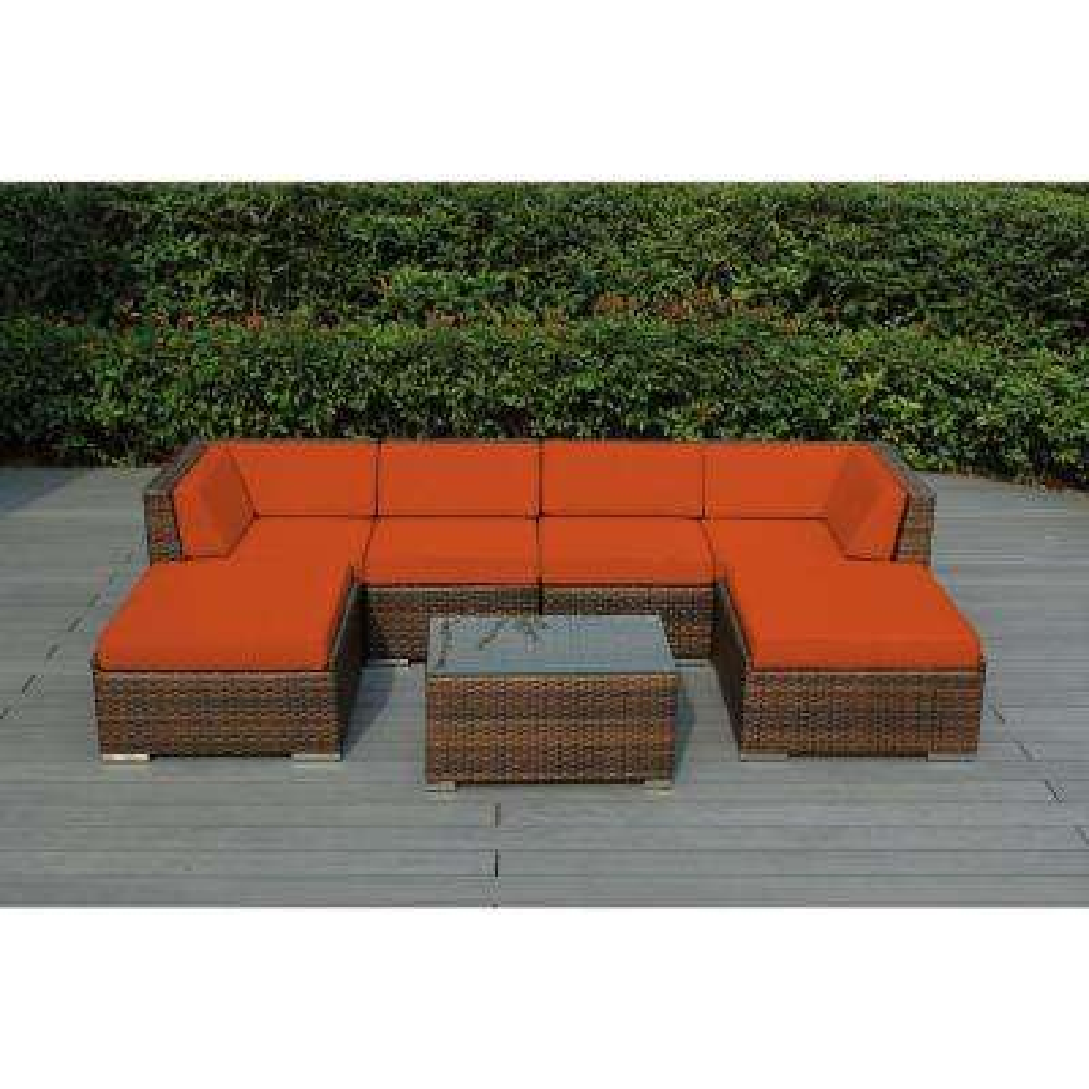 Ohana Mixed Brown 7-Piece Wicker Patio Seating Set with Sunbrella Tuscan Cushions