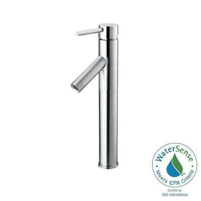 Single Hole 1-Handle High-Arc Vessel Bathroom Faucet in Polished Chrome