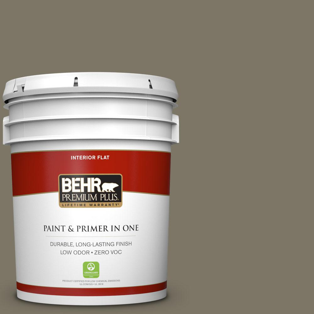 5 gal. #HDC-NT-05 Aged Olive Zero VOC Flat Interior Paint
