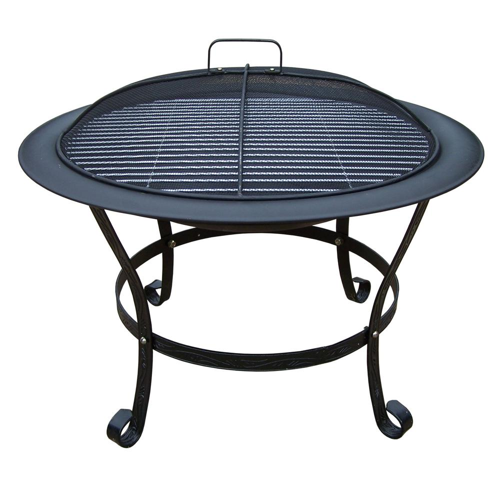 30 in. Round Fire Pit with Grill and Spark Guard Screen