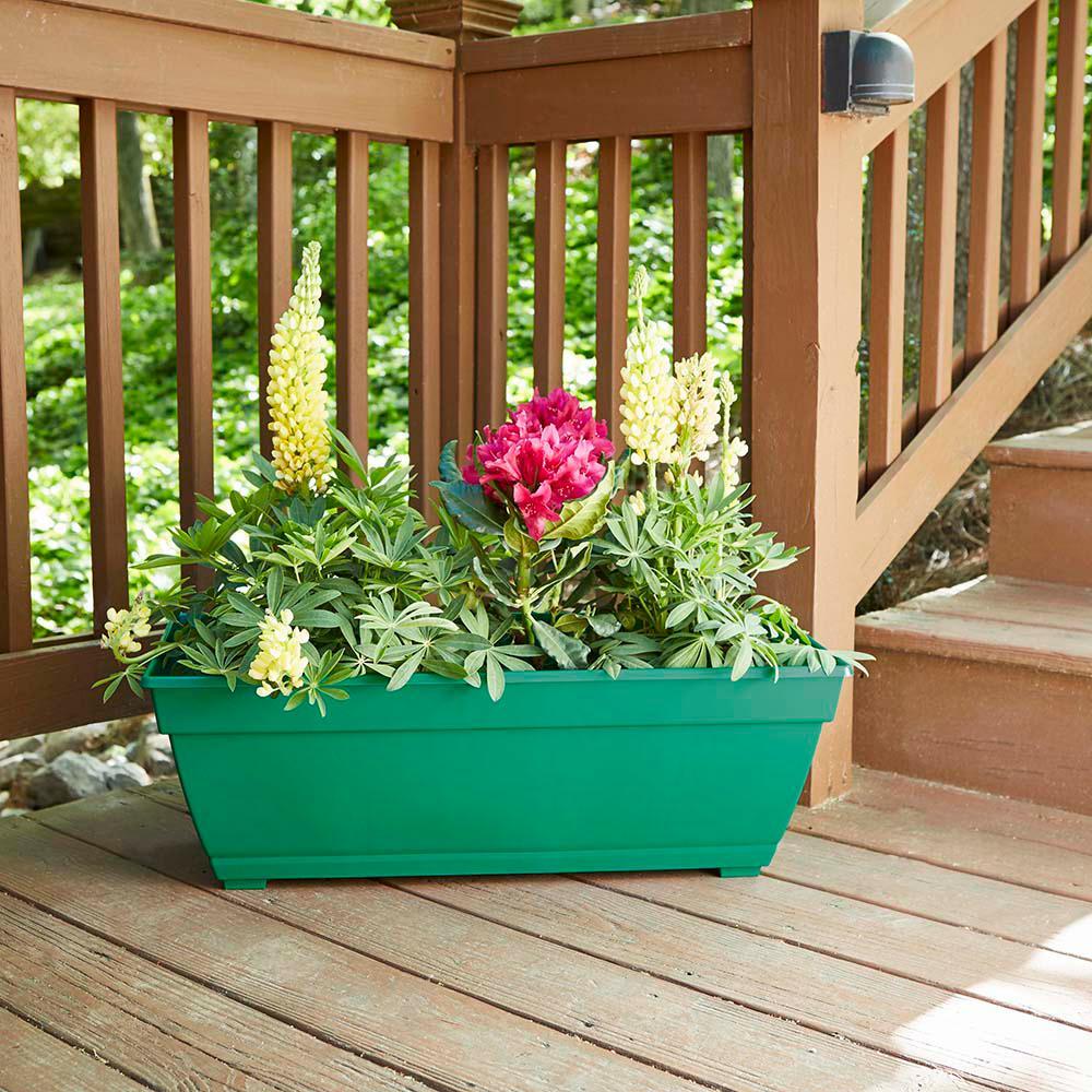 26.85 in. x 12 in. Cadmium Green Resin Deck Box Planter