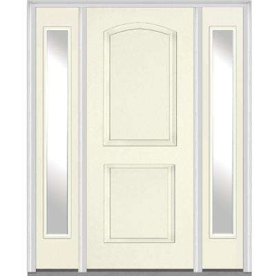 60 in. x 80 in. Right Hand Inswing 2-Panel Arch Painted Fiberglass Smooth Prehung Front Door with Sidelites