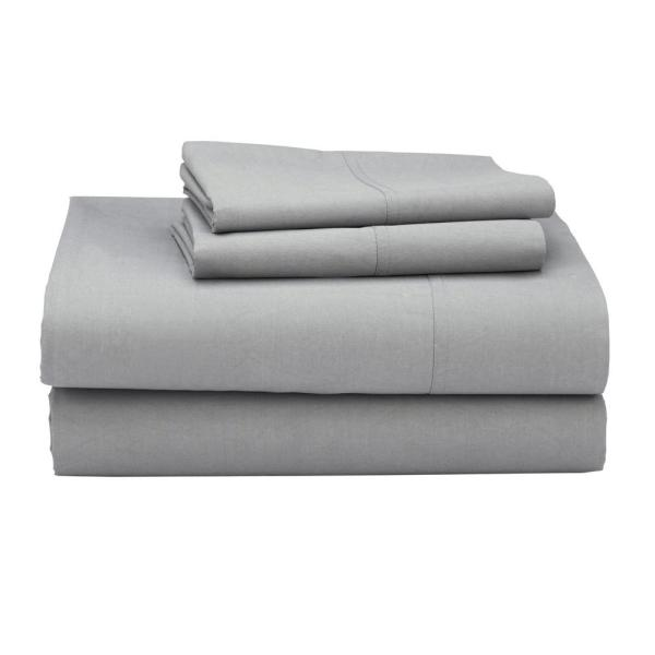 The Company Clic 4 Piece Mineral Gray 210 Thread Count Percale Full Sheet Set
