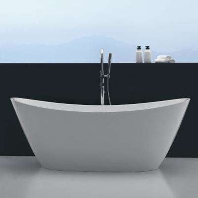 Bella 67 in. Acrylic Flatbottom Bathtub in White