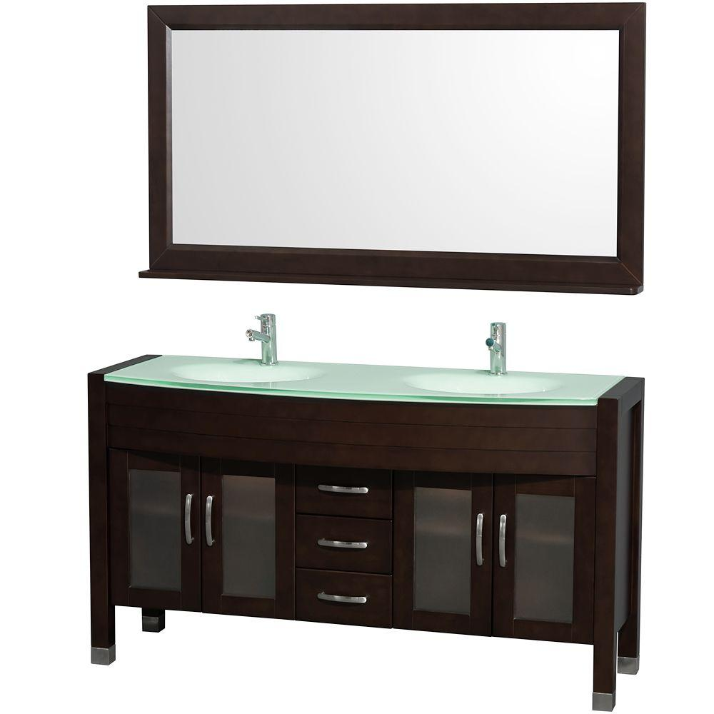 Wyndham Collection Daytona 60 in. Double Vanity in Espresso with Glass Vanity Top in Aqua