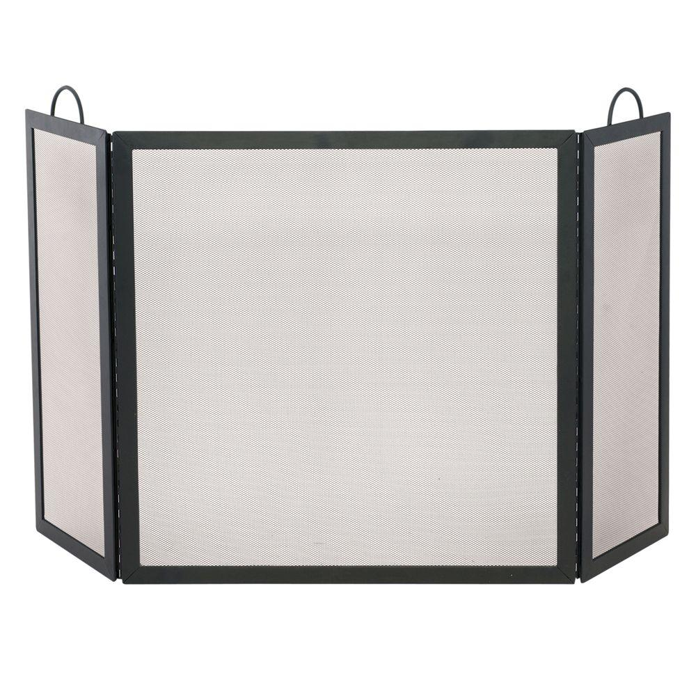 Black Wrought Iron 3-Panel Fireplace Screen, Medium