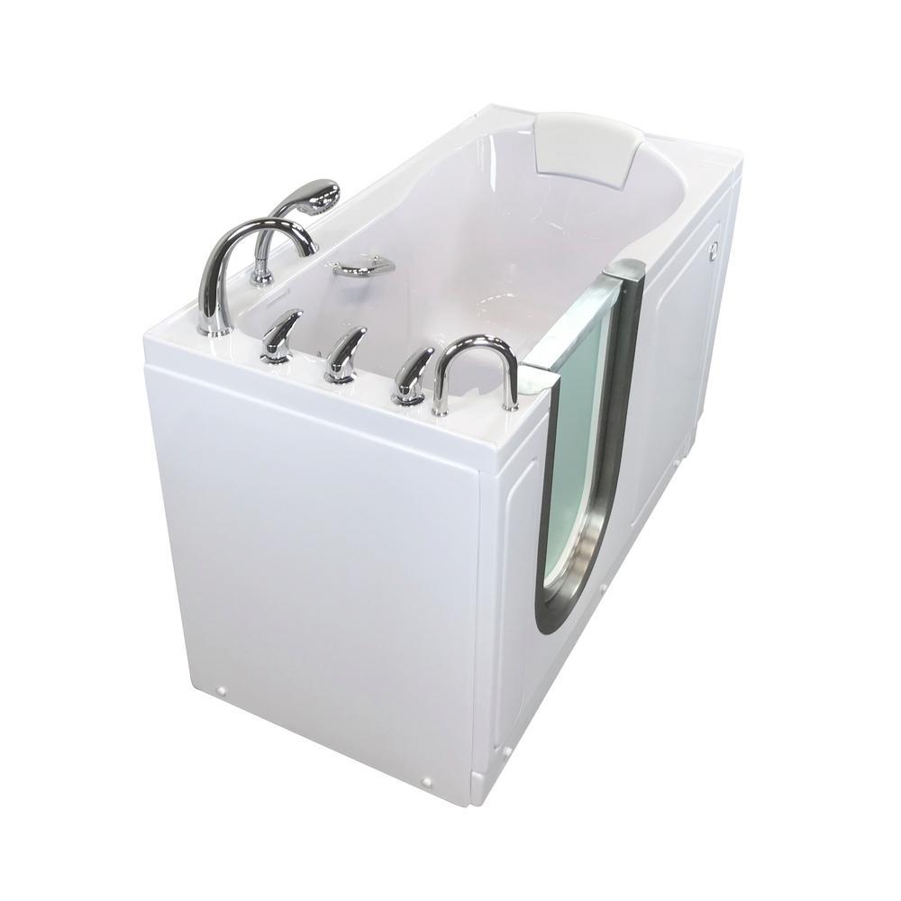 Ella Deluxe 55 in. Acrylic Walk-In MicroBubble Air Bath Bathtub in White, Fast Fill Faucet, Heated Seat, LHS Dual Drain