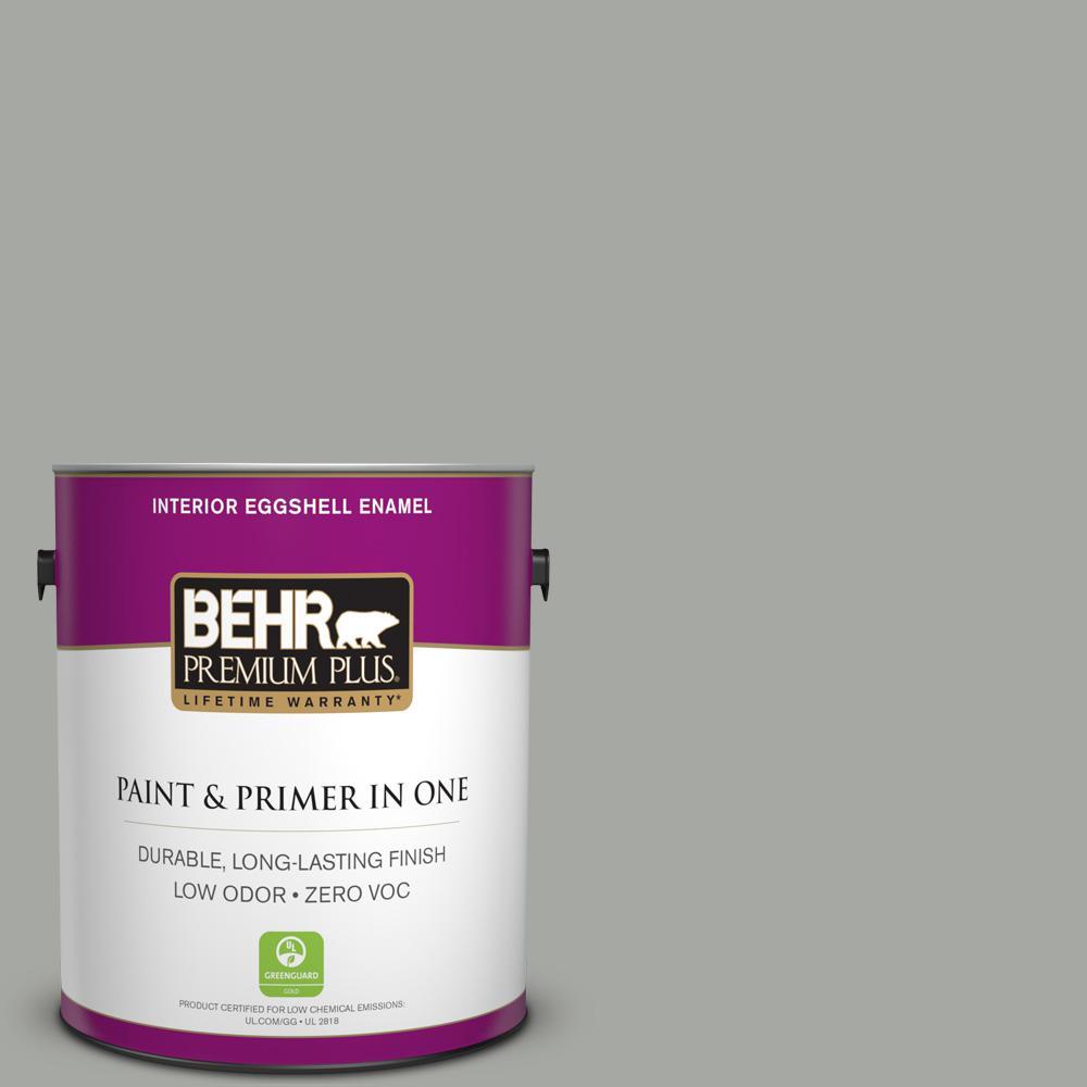 BEHR Premium Plus 1-gal. #ECC-35-1 Silver Clouds Zero VOC Eggshell Enamel Interior Paint
