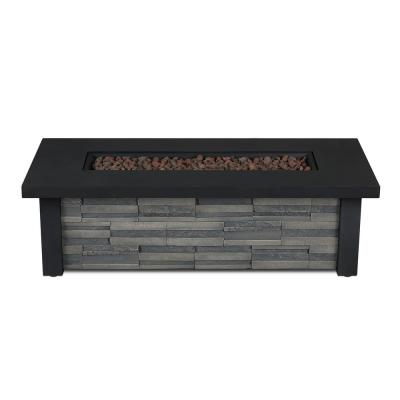 Berthoud 48 in. x 14 in. Rectangle Cast Concrete Propane Fire Pit in Stacked Stone with Natural Gas Conversion Kit