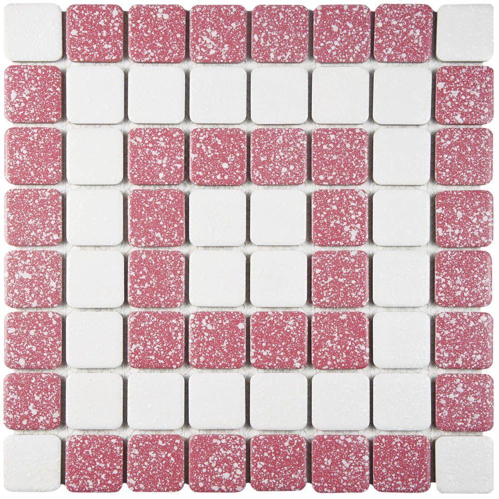 Crystalline Market Square Flamingo 12 in. x 12 in. Porcelain Mosaic Tile (9.79 sq. ft. / Case)