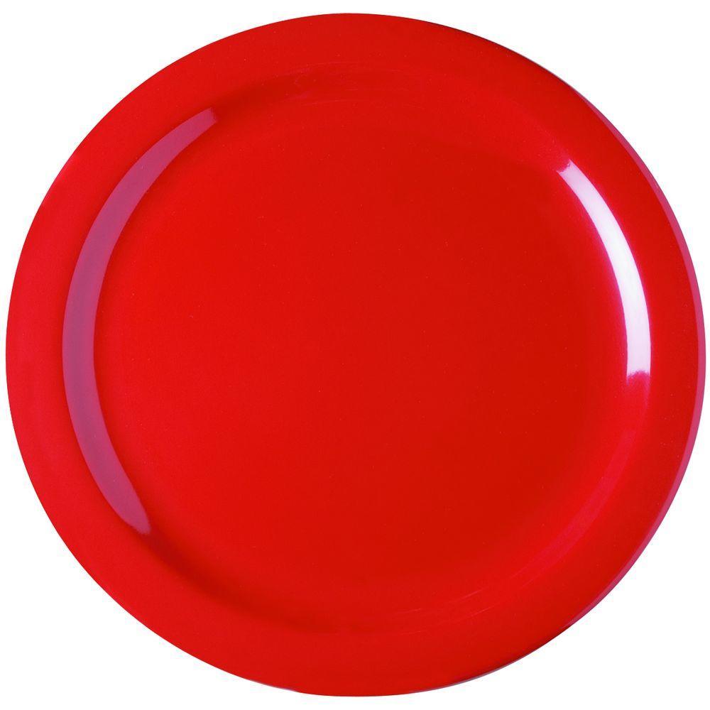 10.25 in. Diameter Melamine Dinner Plate in Red (Case of 48)