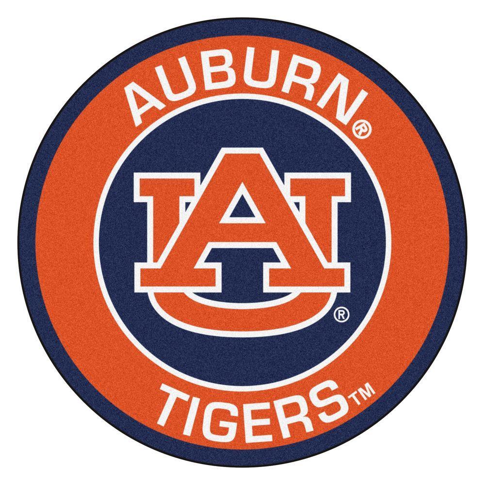 NCAA Auburn University Orange 2 ft. x 2 ft. Round Area Rug