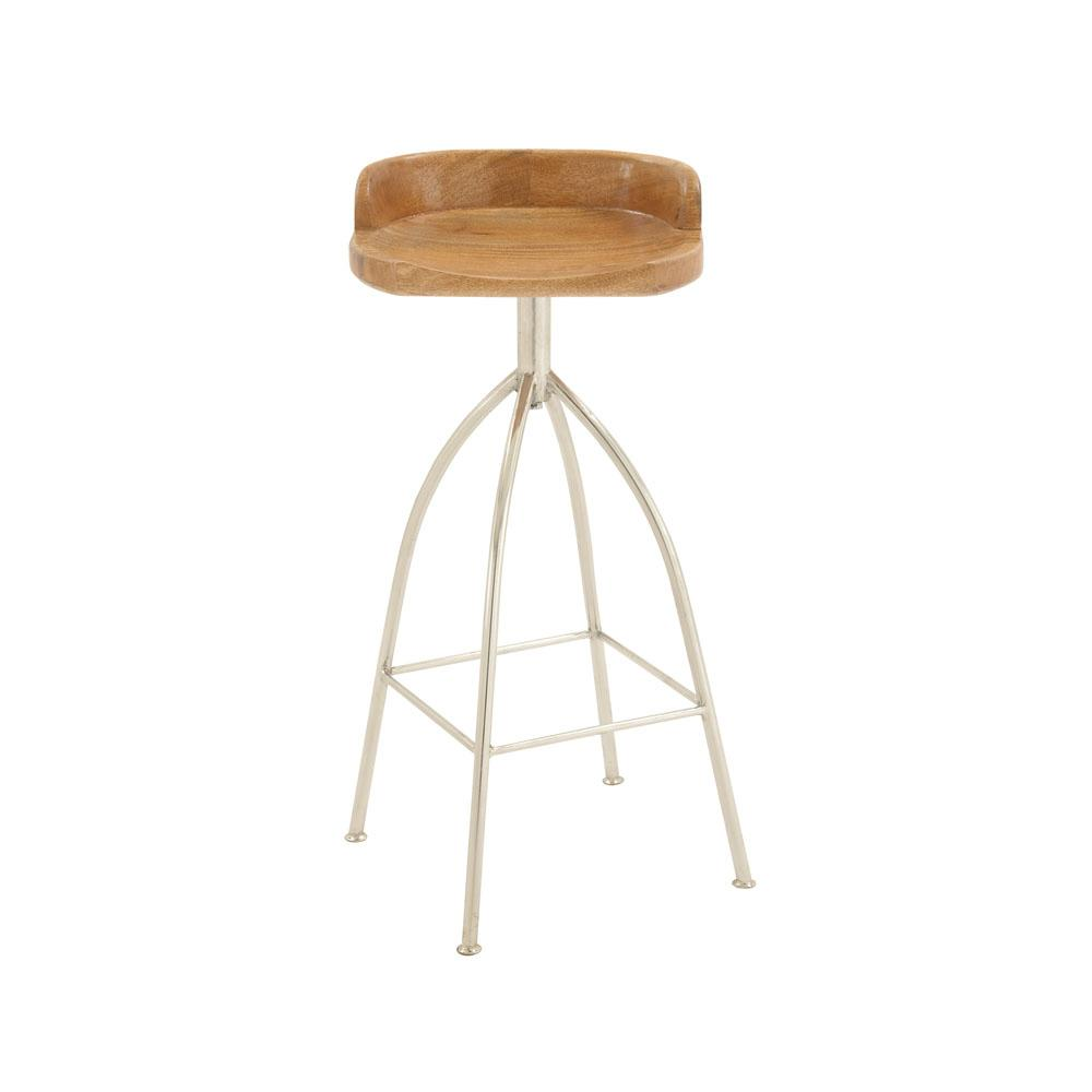 Silver Metallic Iron Bar Stool With Oak Brown Wooden Seat